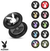 Playboy Bunny Logo Prints Inlay 16ga Black Acrylic Fake Plug with O-Rings (Sold as a Pair)