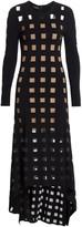 Akris Lurex Tulle Square Intarsia High-Low Dress