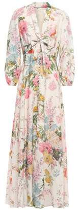 Zimmermann Tie-neck Floral-print Linen Maxi Dress