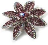Avalaya Lavender Swarovski Crystal Bridal Corsage Brooch (Silver Tone)