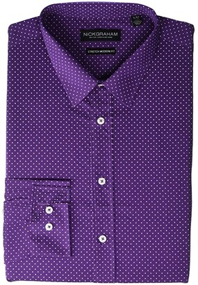 Nick Graham Pin Dot CVC Stretch Dress Shirt (Purple) Men's Long Sleeve Button Up