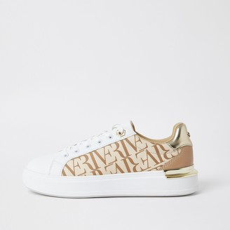 River Island Womens Brown wide fit 'River' chunky lace up trainer