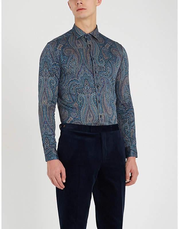 Etro Paisley-print tailored-fit cotton-poplin shirt
