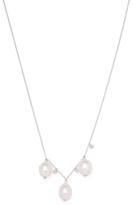 Meira T 14K White Gold, Pearl & 0.07 Total Ct. Diamond Trio Necklace