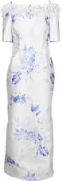 CATHERINE REGEHR Off Shoulder Daisy Floral Gown
