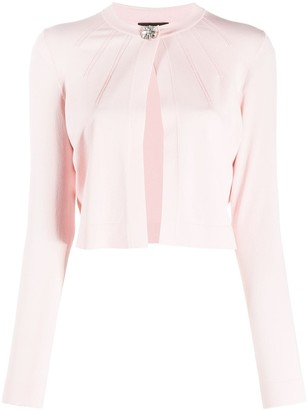 Escada Long Sleeve Embellished-Button Cardigan