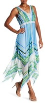 Tracy Reese Sheer Asymmetrical Hem Maxi Dress