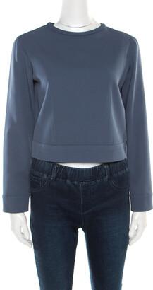 Giorgio Armani Grey Silk Slit Back Detail Long Sleeve Blouse S