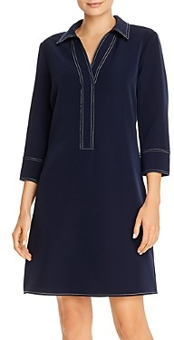 T Tahari Contrast-Stitch Collared Shift Dress