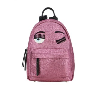 Chiara Ferragni Backpack In Glitter Fabric With Flirting Embroidery