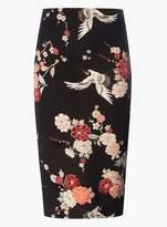 Dorothy Perkins Black Heron Bird Print Pencil Skirt