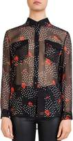 The Kooples Sheer Floral-Print Blouse