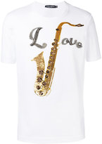 Dolce & Gabbana saxophone print T-shirt - men - Cotton/Polyester/glass/Silk - 46