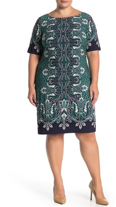Eliza J Paisley Elbow Sleeve Shift Dress