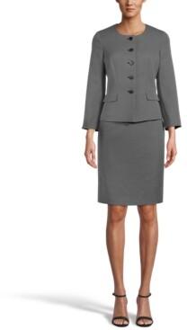 Le Suit Petite Mini-Diamond Collarless Skirt Suit
