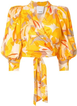Acler Corsica abstract-print wrap blouse