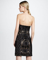 Sue Wong Strapless Floral-Embroidered Dress