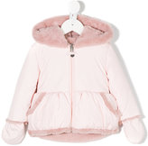 Lapin House furry hooded padded jacket