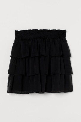 H&M Short Ruffled Skirt - Black