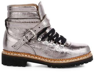 Tabitha Simmons Neela Metallic Leather Combat Boots