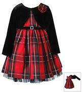 Sweet Heart Rose Girls' 12M-6X Red Plaid Dress with Black Shrug