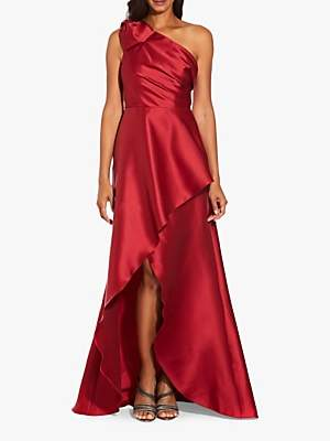 Adrianna Papell Mikado High Low Long Maxi Dress, Cardinal