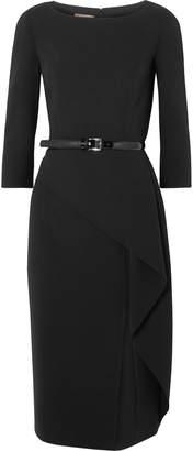 Michael Kors Origami Belted Draped Wool-blend Crepe Dress