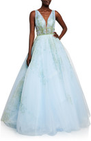 Jovani Deep V-Neck Sleeveless Jeweled-Waist Ball Gown