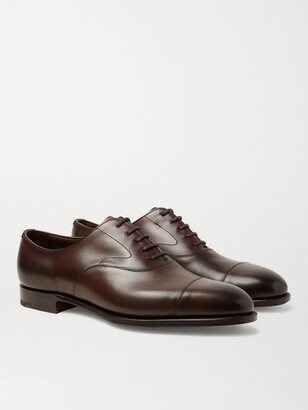 Edward Green Chelsea Cap-Toe Burnished-Leather Oxford Shoes - Men - Brown