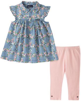 Calvin Klein Jeans Girls' Casual Pants 2034 - Blue Floral Empire-Waist Tunic & Pink Leggings - Infant, Toddler & Girls