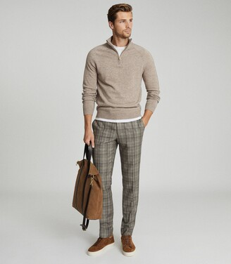 Reiss Oxshott - Slim Fit Checked Trousers in Grey