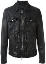 Neil Barrett distressed biker jacket - men - Cotton/Leather - XL