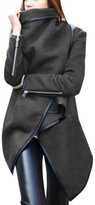 ClothingLoves Women's Solid Cotton Blends Long Trench Coats Medium