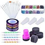 Mudder Nail Arts Kit with Nail Art Brushes, 12 Colors Nail Rhinestones, 2 Way Dotting Pen, Assorted Colors Nail Striping Tape and Gradient Nails Sponge