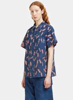 Story Mfg. Women's Shore Print Short Sleeved Shirt in Indigo