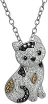 Animal Planet Crystal Sterling Silver Calico Cat Pendant Necklace