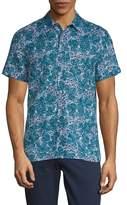Perry Ellis Men's Leaf-Print Button-Down Shirt