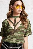 Forever 21 Cutout Camouflage Tee