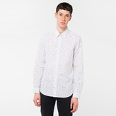 Paul Smith Men's Tailored-Fit White 'Cactus Seed' Print Cotton Shirt