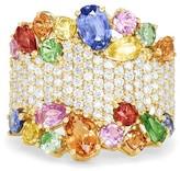 Effy Jewelry Effy Watercolors 14K Yellow Gold Multi Sapphire and Diamond Ring, 5.59 TCW