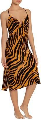 Midnight Bakery Shimmer Satin Tiger-Print Midi Gown