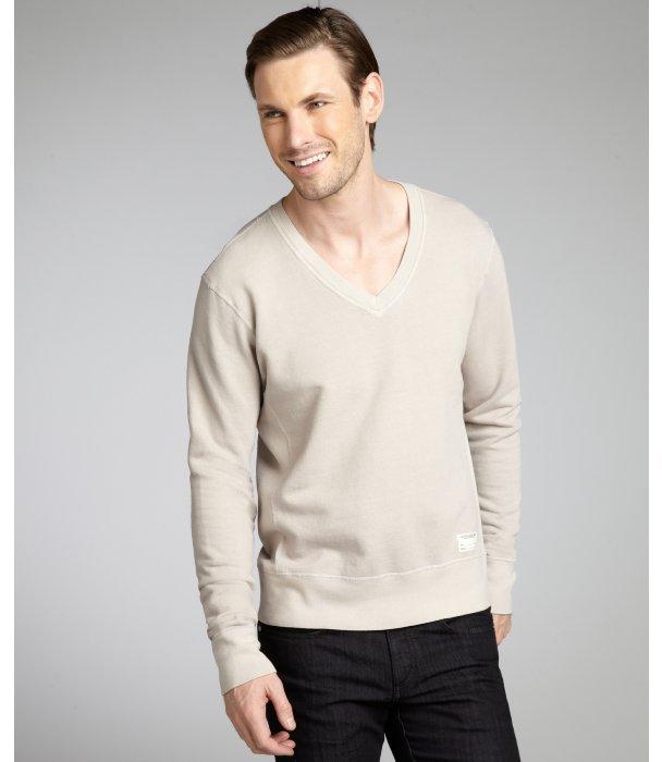 Aviator beige cotton v-neck pullover
