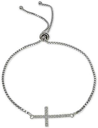 Giani Bernini Cubic Zirconia East West Cross Slider Bracelet in Sterling Silver