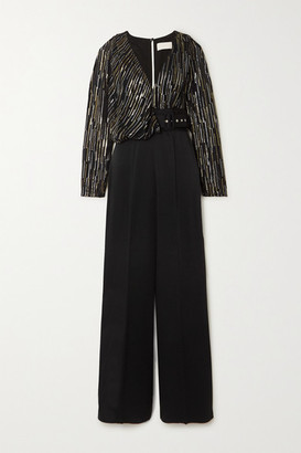 Peter Pilotto Silk And Lurex-blend Fil Coupe Chiffon And Cady Jumpsuit - Black