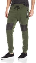 Southpole Men's Fleece Jogger Pants With Nylon Moto Details with Color Zippered Side Pocket