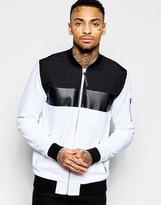 Asos Jersey Bomber Jacket With Quilted Panels - White