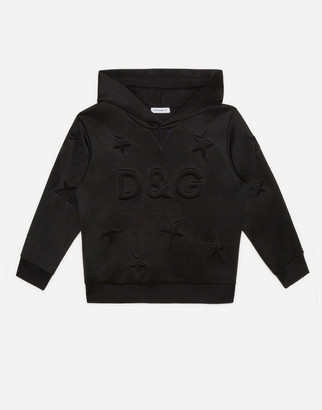 Dolce & Gabbana Neoprene Hoodie With Embossed Stars