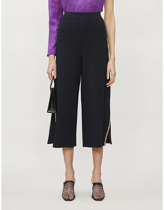 Stella McCartney Beaded wide-leg high-rise woven culottes