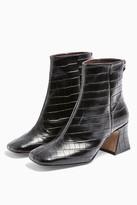 Topshop CONSIDERED VIENNA Vegan Black Croc Flared Boots