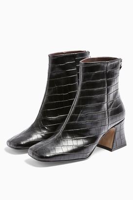 Topshop Womens Considered Vienna Vegan Black Croc Flared Boots - Black